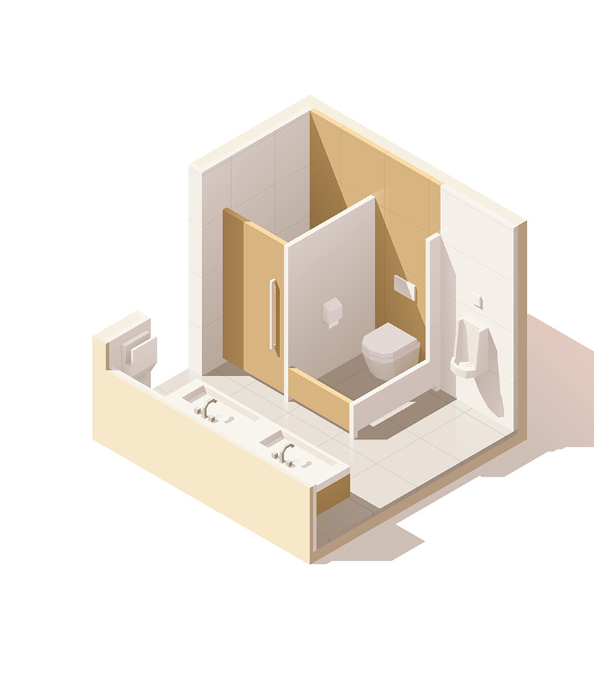Vagus Haustechnik - Badezimmer Sanierung (isometrische Ansicht)